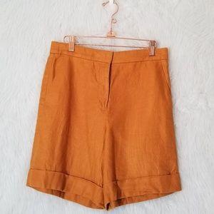 J. Crew Marigold Yellow Linen Grandpa Shorts
